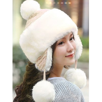 Women Winter Knitted Hat with Faux Fur Trim