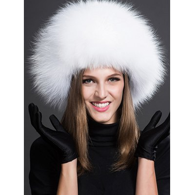 Women Winter Leather Fox Fur Bomber Hat with Earmuffs