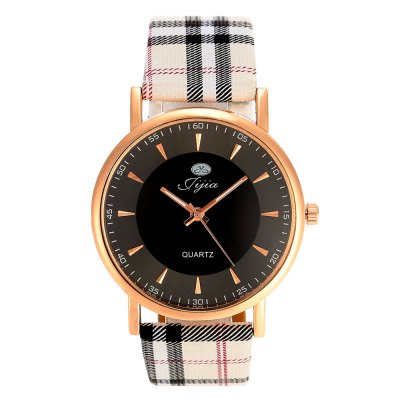 Jijia Plaid Leather Band Women Quartz WatchWomens Watches<br>Jijia Plaid Leather Band Women Quartz Watch<br><br>Brand: Jijia<br>Watches categories: Unisex table<br>Available color: Black,White<br>Style: Fashion&amp;Casual<br>Movement type: Quartz watch<br>Shape of the dial: Round<br>Display type: Analog<br>Case material: Alloy<br>Band material: Leather<br>Clasp type: Pin buckle<br>The dial thickness: 1.0 cm / 0.39 inches<br>The dial diameter: 3.8 cm / 1.49 inches<br>The band width: 2.0 cm / 0.79 inches<br>Product weight: 0.028 kg<br>Package weight: 0.078 kg<br>Product size (L x W x H): 24.00 x 3.80 x 1.00 cm / 9.45 x 1.5 x 0.39 inches<br>Package size (L x W x H): 25.00 x 4.80 x 2.00 cm / 9.84 x 1.89 x 0.79 inches<br>Package Contents: 1 x Jijia Watch