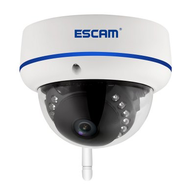 ESCAM Speed QD800WiFi 1080P FHD H.264 IP Dome CameraIP Cameras<br>ESCAM Speed QD800WiFi 1080P FHD H.264 IP Dome Camera<br><br>Brand: ESCAM<br>Model: Speed QD800WiFi<br>Shape: Dome Camera<br>Color: White<br>Technical Feature: Infrared<br>IP camera performance: Motion Detection,Night Vision<br>Specification of Power Supply: DC 12V<br>Protocol: DDNS,DHCP,DNS,FTP,HTTP,IP,NTP,ONVIF,PPPOE,RTP,RTSP,SMTP,TCP,UDP,UPNP<br>Wireless: WiFi 802.11 b/g/n<br>Network Port: RJ-45<br>Online Visitor (Max.): 10<br>Mobile Access: Android,IOS<br>Alarm Notice: Email Photo<br>Video Compression Format: H.264<br>Sensor: CMOS<br>Sensor size (inch): 1/2.5<br>Pixels: 2MP<br>Resolution: 1920 ? 1080,640 x 360<br>Infrared LED: 15pcs<br>Environment: Indoor,Outdoor<br>Waterproof: IP66<br>Product weight: 0.344 kg<br>Package weight: 0.611 kg<br>Product size (L x W x H): 10.00 x 10.00 x 8.50 cm / 3.94 x 3.94 x 3.35 inches<br>Package size (L x W x H): 19.00 x 14.50 x 11.50 cm / 7.48 x 5.71 x 4.53 inches<br>Package Contents: 1 x IP Camera, 1 x Antenna, 1 x Power Cord, 1 x English User Manual, 1 x Accessory Kit, 3 x Screw, 3 x Screw Cap, 1 x Screw Driver