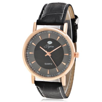 Jijia Male Dual Scale Quartz Watch with Leather Strap