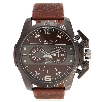 Oulm 3745 Fashion Men Quartz WatchMens Watches<br>Oulm 3745 Fashion Men Quartz Watch<br><br>Band material: Leather<br>Band size: 27 x 2.6 cm / 10.63 x 1.02 inches<br>Brand: Oulm<br>Case material: Alloy<br>Clasp type: Pin buckle<br>Dial size: 5 x 5 x 1.7 cm / 1.97 x 1.97 x 0.67 inches<br>Display type: Analog<br>Movement type: Quartz watch<br>Package Contents: 1 x Oulm 3745 Fashion Men Quartz Watch<br>Package size (L x W x H): 28.00 x 7.10 x 2.70 cm / 11.02 x 2.8 x 1.06 inches<br>Package weight: 0.137 kg<br>Product size (L x W x H): 27.00 x 6.10 x 1.70 cm / 10.63 x 2.4 x 0.67 inches<br>Product weight: 0.097 kg<br>Shape of the dial: Round<br>Special features: Decorative sub-dial<br>Watch color: Black, Rose Gold, Coffee, White + Gold, Black + Gold<br>Watch style: Fashion<br>Watches categories: Male table<br>Wearable length: 18.8 - 24.5 cm / 7.40 - 9.65 inches