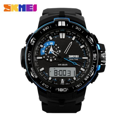 SKMEI 1081 Fashion Japan Movement LED Sports Men WatchSports Watches<br>SKMEI 1081 Fashion Japan Movement LED Sports Men Watch<br><br>Brand: Skmei<br>People: Male table<br>Watch style: Fashion,Outdoor Sports<br>Available color: Blue,Green<br>Movement type: Quartz + digital watch<br>Shape of the dial: Round<br>Display type: Analog-Digital<br>Hour formats: 12/24 Hour<br>Case material: PC<br>Band material: PU<br>Clasp type: Pin buckle<br>Water resistance : 50 meters<br>Dial size: 4.9 x 4.9 x 1.4 cm / 1.93 x 1.93 x 0.55 inches<br>Band size: 25 x 2.8 cm / 9.84 x 1.1 inches<br>Wearable length: 16 - 22.5 cm / 6.30 - 8.86 inches<br>Product weight: 0.066 kg<br>Package weight: 0.097 kg<br>Product size (L x W x H): 25.00 x 5.40 x 1.40 cm / 9.84 x 2.13 x 0.55 inches<br>Package size (L x W x H): 8.00 x 8.00 x 8.00 cm / 3.15 x 3.15 x 3.15 inches<br>Package Contents: 1 x SKMEI 1081 Fashion Sports Watch, 1 x Box