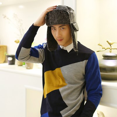 Men PU Leather Winter Hat with Earmuffs