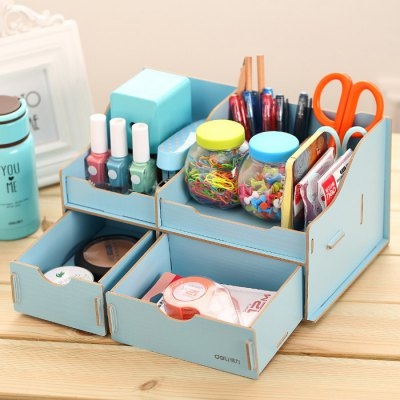 Deli Practical Wooden DIY Storage BoxDesk Organizers<br>Deli Practical Wooden DIY Storage Box<br><br>Brand: Deli<br>Color: Blue,Off-white,Pink<br>Material: Wood<br>Package Contents: 1 x Deli Wooden DIY Storage Box<br>Package size (L x W x H): 28.00 x 12.00 x 15.00 cm / 11.02 x 4.72 x 5.91 inches<br>Package weight: 0.8870 kg<br>Product size (L x W x H): 27.30 x 17.30 x 14.00 cm / 10.75 x 6.81 x 5.51 inches<br>Product weight: 0.1200 kg