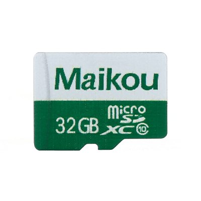 Maikou 2 in 1 32GB Micro SD Card + AdapterMemory Cards<br>Maikou 2 in 1 32GB Micro SD Card + Adapter<br><br>Brand: Maikou<br>Class Rating: Class 10<br>Memory Card Type: Micro SD/TF<br>Package Contents: 1 x Micro SD Card, 1 x Micro SD Adapter<br>Package size (L x W x H): 8.00 x 7.00 x 1.00 cm / 3.15 x 2.76 x 0.39 inches<br>Package weight: 0.025 kg<br>Product weight: 0.001 kg<br>Read Speed: 10 -13MB/s<br>Support 4K Video Recording: No<br>Type: Memory Card<br>UHS Speed Class: UHS-1<br>Write Speed: 50 - 80MB/s