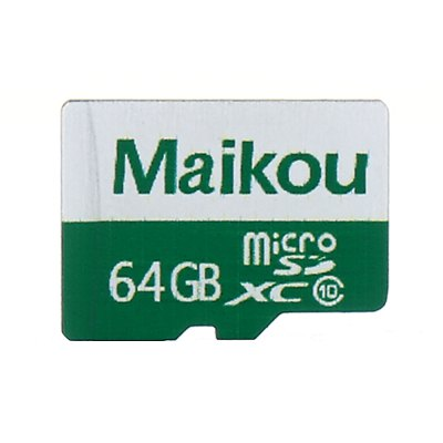 Maikou 2 in 1 64GB Micro SD Card + AdapterMemory Cards<br>Maikou 2 in 1 64GB Micro SD Card + Adapter<br><br>Brand: Maikou<br>Class Rating: Class 10<br>Memory Card Type: Micro SD/TF<br>Package Contents: 1 x Micro SD Card, 1 x Micro SD Adapter<br>Package size (L x W x H): 8.00 x 7.00 x 1.00 cm / 3.15 x 2.76 x 0.39 inches<br>Package weight: 0.025 kg<br>Product weight: 0.001 kg<br>Read Speed: 10 -13MB/s<br>Support 4K Video Recording: No<br>Type: Memory Card<br>UHS Speed Class: UHS-1<br>Write Speed: 50 - 80MB/s
