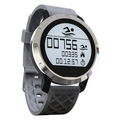 F69 Smart BT Swimming WatchSmart Watches<br>F69 Smart BT Swimming Watch<br><br>Bluetooth version: Bluetooth 4.0<br>RAM: 16K<br>ROM: 256K<br>Waterproof: Yes<br>IP rating: IP68<br>Bluetooth calling: Phone call reminder<br>Messaging: Message reminder<br>Health tracker: Heart rate monitor,Pedometer,Sedentary reminder,Sleep monitor<br>Notification: Yes<br>Notification type: Facebook,Twitter,Wechat<br>Alert type: Vibration<br>Other function: Alarm<br>Screen: LCD<br>Screen resolution: 128 x 128<br>Screen size: 1.0 inch<br>Operating mode: Touch Screen<br>Type of battery: Polymer battery<br>Battery Capacty: 180mAh<br>Standby time: About 144 hours<br>People: Female table,Male table<br>Shape of the dial: Round<br>Case material: Stainless Steel<br>Band material: Silicone<br>Compatible OS: Android,IOS<br>Compatability: Android 4.3 / iOS 8.0 or above system<br>Language: English,Simplified Chinese,Traditional Chinese<br>Available color: Black,Gray,Yellow<br>Dial size: 3.8 x 3.8 x 1.0 cm / 1.5. x 1.5 x  0.39 inches<br>Band size: 1.8 cm / 0.71 inches (W)<br>Package size (L x W x H): 9.00 x 9.00 x 5.00 cm / 3.54 x 3.54 x 1.97 inches<br>Product weight: 0.034 kg<br>Package weight: 0.146 kg<br>Package Contents: 1 x F69 Smart Watch, 1 x Charging Dock, 1 x USB Charging Cable, 1 x Chinese and English Manual