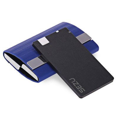 SEZU UW - E06 Double Open End 1500mAh Mobile Power BankPower Banks<br>SEZU UW - E06 Double Open End 1500mAh Mobile Power Bank<br><br>Brand: SEZU<br>Type: Backup Power Banks<br>Model: UW-E06<br>Capacity Range: &lt;2000mAh<br>Battery Capacity (mAh): 1500mAh<br>Connection Type: Micro USB Interface<br>Battery Type: Li-ion Battery<br>Color: Black,Blue,Brown<br>Material: Metal,PC,PU Leather<br>Input: 5V 1A<br>Output: 5V 1A<br>Product weight: 0.112 kg<br>Package weight: 0.238 kg<br>Product size (L x W x H): 9.40 x 6.80 x 2.00 cm / 3.7 x 2.68 x 0.79 inches<br>Package size (L x W x H): 15.00 x 11.50 x 4.70 cm / 5.91 x 4.53 x 1.85 inches<br>Package Contents: 1 x Card Case Power Bank, 1 x 8 Pin Adapter