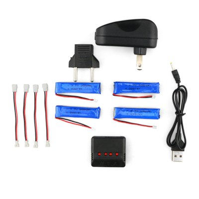 WSX / MX 4 x 3.7V 200mAh 30C LiPo Battery + Charger Set
