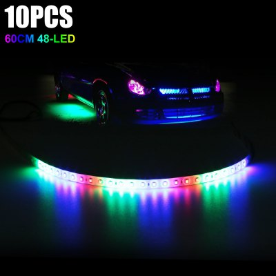 10pcs 60CM 48 x SMD3528 RGB LED Light Strip for Car Motorcycle Bicycle