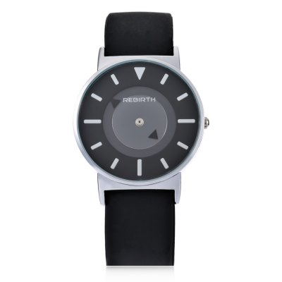 REBIRTH RE035 Unisex No Pointers Quartz WatchUnisex Watches<br>REBIRTH RE035 Unisex No Pointers Quartz Watch<br><br>People: Female table,Male table<br>Watch style: Fashion<br>Watch color: White, Black + White, Black, Black + Silver<br>Shape of the dial: Round<br>Movement type: Quartz watch<br>Display type: Analog<br>Case material: Alloy<br>Band material: Silicone<br>Clasp type: Pin buckle<br>Water resistance : Life water resistant<br>Dial size: 3.8 x 3.8 x 0.8 cm / 1.5 x 1.5 x 0.31 inches<br>Band size: 26 x 1.6 cm / 10.24 x 0.63 inches<br>Wearable length: 17.4 - 22.2 cm / 6.85 - 8.74 inches<br>Product weight: 0.046 kg<br>Package weight: 0.080 kg<br>Product size (L x W x H): 26.00 x 3.80 x 0.80 cm / 10.24 x 1.5 x 0.31 inches<br>Package size (L x W x H): 27.00 x 4.80 x 1.80 cm / 10.63 x 1.89 x 0.71 inches<br>Package Contents: 1 x REBIRTH RE035 Unisex Quartz Watch