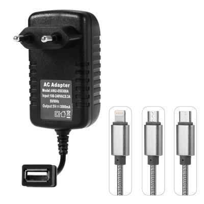 3A Quick Charge Wall Charger Power Adapter with 3-in-1 USB Charging Cable