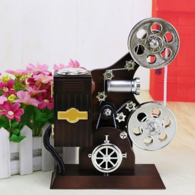 Projector Style Clockwork Music Box with Mirror