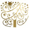 Christmas Golden Tree Bedroom Wall Stickers for sale