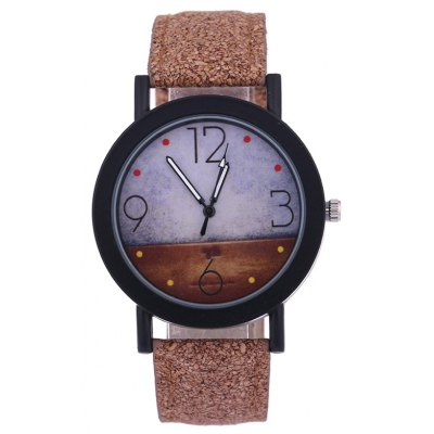 Quartz Watch with Round Dial Leather Watchband
