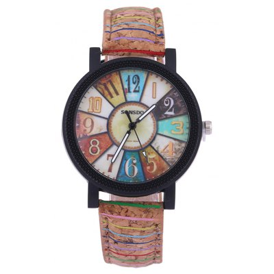 Colorful Analog PU Leather Quartz Watch