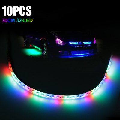 10pcs 30CM 32-LED Waterproof RGB Knight Rider Light Strip Automobile Decoration