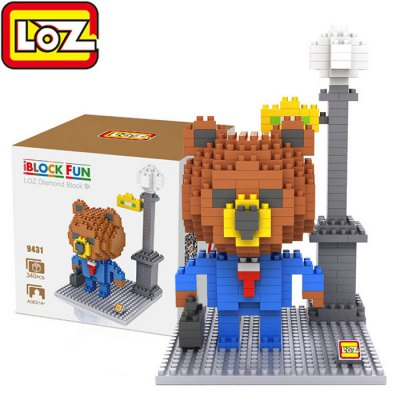 LOZ 340Pcs 9431 Brown Bear with Suit Building Block Toy for Enhancing Social Cooperation Ability