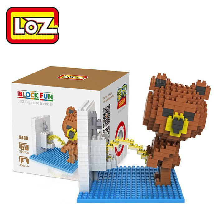 LOZ 359430 Washroom Brown Bear Figure Building Block Toy Enhancing Social Cooperation Ability COLORMIX