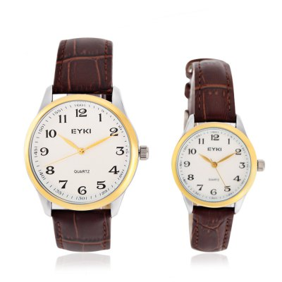EYKI 1062 Fashion Tiny Grid Pattern Dial Quartz Lover WatchesCouples Watches<br>EYKI 1062 Fashion Tiny Grid Pattern Dial Quartz Lover Watches<br><br>Brand: Eyki<br>Watches categories: Couple tables<br>Watch style: Fashion<br>Watch color: Black, Brown + Gold, Brown + Silver<br>Shape of the dial: Round<br>Movement type: Quartz watch<br>Display type: Analog<br>Case material: Alloy<br>Band material: Leather<br>Clasp type: Pin buckle<br>Package weight: 0.124 kg<br>Package size (L x W x H): 8.50 x 8.00 x 5.40 cm / 3.35 x 3.15 x 2.13 inches<br>The male dial dimension (L x W x H): 4 x 4 x 0.9 cm / 1.57 x 1.57 x 0.35 inches<br>The male watch band dimension (L x W): 25.4 x 2 cm / 10 x 0.79 inches<br>The male watch weight: 0.040 kg<br>The male watch size (L x W x H): 25.4 x 4 x 0.9 cm / 10 x 1.57 x 0.35 inches<br>The female dial dimension (L x W x H): 2.9 x 2.9 x 0.8 cm / 1.14 x 1.14 x 0.31 inches<br>The female watch band dimension (L x W): 22.3 x 1.4 cm / 8.78 x 0.55 inches<br>The female watch weight: 0.024 kg<br>The female size (L x W x H): 22.3 x 2.9 x 0.8 cm / 8.78 x 1.14 x 0.31 inches<br>Package Contents: 1 x EYKI 1062 Fashion Quartz Lover Watches, 1 x Box