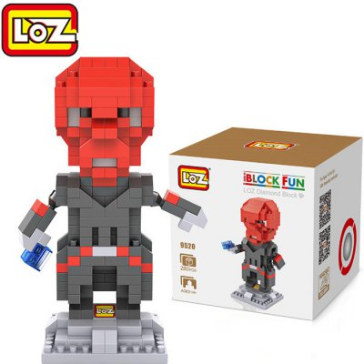 LOZ 280Pcs L - 9520 Captain America Red Skull Building Block Educational Toy for Brain Thinking
