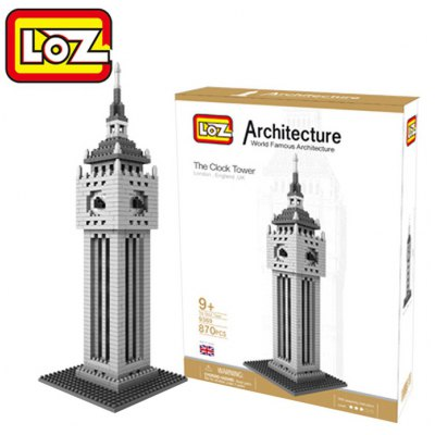 LOZ 870Pcs 9369 Big Ben Building Block Educational Toy for Cooperative Ability - World Great Architecture Series