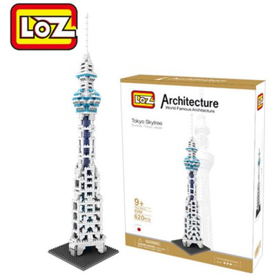 LOZ 620Pcs 9366 Tokyo Sky Tree Building Block Educational Toy for Cooperative Ability - World Great Architecture Series