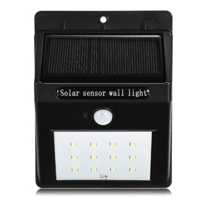 Solar Powered PIR LED Wall LightOutdoor Lights<br>Solar Powered PIR LED Wall Light<br><br>Powered source: Solar and Battery<br>Light Type: Outdoor Light,Solar Light<br>Color Temperature: 5000-5500K<br>Luminous Flux: 264-288LM<br>Optional Light Color: White<br>Features: Body Induction,Light Control,Rechargeable,Waterproof<br>Available Color   : Black<br>Sensing Angle / Distance: 120 degree / 15ft<br>Total LED: 12<br>Rated Power (W): 0.2W<br>Solar Panel : 0.55W<br>Battery Voltage: 3.7V<br>Battery Capacity: 1200mAh Li-ion battery<br>Charging time: 8h<br>Working Time: 12h<br>Material: PC<br>Product weight: 0.150 kg<br>Package weight: 0.205 kg<br>Product size (L x W x H): 12.50 x 9.50 x 4.80 cm / 4.92 x 3.74 x 1.89 inches<br>Package size (L x W x H): 13.50 x 10.50 x 5.80 cm / 5.31 x 4.13 x 2.28 inches<br>Package Contents: 1 x Solar Sensor Light, 1 x Expansion Pillar-hinge, 1 x Screw, 1 x Key Pin, 1 x English Manual