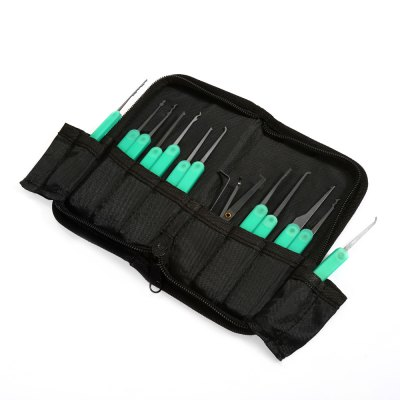 Practical 12 in 1 Single Hook Lock Pick Set with Tweezers