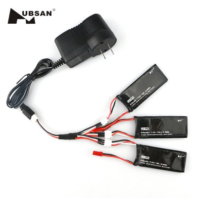 3 x 7.4V 610mAh 15C Battery + US Plug Charger / Cable Set