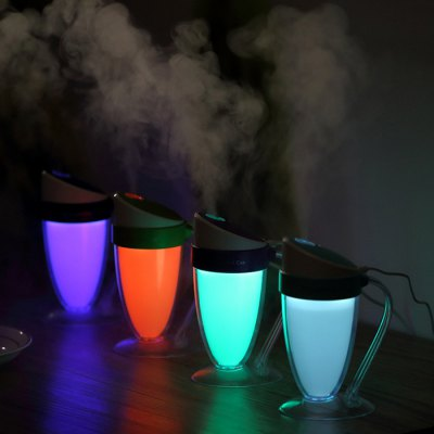 Creative USB Cool Mist Humidifier LED Night LightHome Gadgets<br>Creative USB Cool Mist Humidifier LED Night Light<br><br>Type: Practical<br>For: Adults,Kids,Men,Teenagers,Women<br>Material: ABS,PP,PS<br>Occasion: Bar,Bathroom,Bedroom,Car,Dining Room,Home,KTV,Living Room,Office<br>Color: Black,Blue,Green,Purple<br>Product weight: 0.135 kg<br>Package weight: 0.320 kg<br>Product size (L x W x H): 14.50 x 9.50 x 6.50 cm / 5.71 x 3.74 x 2.56 inches<br>Package size (L x W x H): 16.00 x 12.00 x 8.00 cm / 6.3 x 4.72 x 3.15 inches<br>Package Contents: 1 x Humidifier, 1 x USB Charging Cable, 1 x Sponge Rod