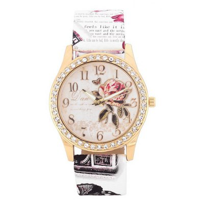 Faux Leather Rhinestone Butterfly Rose Watch