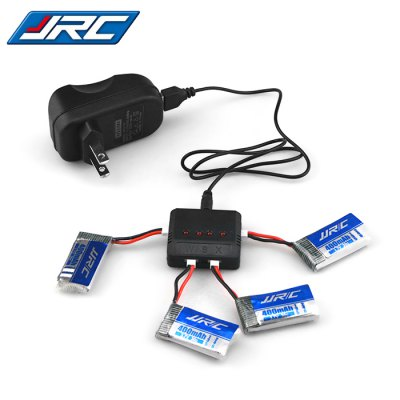 JJRC Battery Charging Set 4cs 3.7V 400mAh LiPo + Balance Charger with Adapter / Cable
