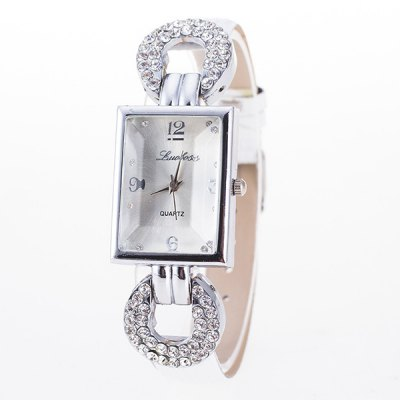 PU Leather Rhinestone Geometric Dial Plate Watch