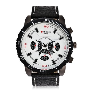 JUBAOLI  1138 Casual Men Quartz WatchMens Watches<br>JUBAOLI  1138 Casual Men Quartz Watch<br><br>Band material: Leather<br>Band size: 26 x 2.6 cm / 10.24 x 1.02 inches<br>Brand: Jubaoli<br>Case material: Alloy<br>Clasp type: Pin buckle<br>Dial size: 5 x 5 x 1.8 cm / 1.97 x 1.97 x 0.71 inches<br>Display type: Analog<br>Movement type: Quartz watch<br>Package Contents: 1 x JUBAOLI 1138 Casual Men Quartz Watch, 1 x Box<br>Package size (L x W x H): 8.50 x 8.00 x 5.40 cm / 3.35 x 3.15 x 2.13 inches<br>Package weight: 0.148 kg<br>Product size (L x W x H): 26.00 x 5.00 x 1.80 cm / 10.24 x 1.97 x 0.71 inches<br>Product weight: 0.086 kg<br>Shape of the dial: Round<br>Special features: Date<br>Watch color: Black, Orange, White, Red, Green, Blue<br>Watch style: Casual<br>Watches categories: Male table<br>Water resistance : Life water resistant<br>Wearable length: 19.7 - 23.7 cm / 7.76 - 9.33 inches