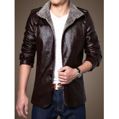 Men Stand Collar Plush PU Leather JacketMens Jackets &amp; Coats<br>Men Stand Collar Plush PU Leather Jacket<br><br>Closure Type: Single Breasted<br>Clothes Type: Jackets<br>Collar: Stand Collar<br>Embellishment: Others<br>Materials: Plush, Polyester, PU<br>Package Content: 1 x Men Plush Jacket<br>Package Dimension: 45.00 x 35.00 x 2.00 cm / 17.72 x 13.78 x 0.79 inches<br>Package weight: 1.070 kg<br>Pattern Type: Solid<br>Product weight: 1.000 kg<br>Seasons: Autumn,Winter<br>Shirt Length: Regular<br>Size1: 2XL,3XL,4XL,L,M,XL<br>Sleeve Length: Long Sleeves<br>Style: Fashion<br>Thickness: Thickening<br>Type: Slim