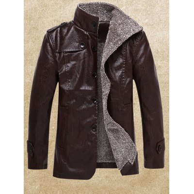 Men Stand Collar Plush PU Leather Jacket
