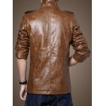 Men Stand Collar Plush PU Leather Jacket deal