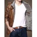 Men Stand Collar Plush PU Leather Jacket for sale