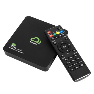 COOWELL V2 Smart Box Android TVTV Box &amp; Mini PC<br>COOWELL V2 Smart Box Android TV<br><br>5G WiFi: Yes<br>Audio format: AAC, MP3, FLAC, OGG, RM, WMA<br>Bluetooth: Bluetooth4.0<br>Brand: COOWELL<br>Color: Black<br>Core: Quad Core, 2.0GHz<br>CPU: Amlogic S905X<br>Decoder Format: H.264, RealVideo8/9/10, H.265<br>External Subtitle Supported: Yes<br>GPU: Mali-450<br>HDMI Version: 2.0<br>Interface: USB2.0, SPDIF, HDMI, DC 5V, SD Card Slot, AV, RJ45<br>Language: Multi-language<br>Max. Extended Capacity: 32G<br>Model: V2<br>Other Functions: 3D Video, DLNA, ISO Files, Miracast<br>Package Contents: 1 x COOWELL V2 TV Box, 1 x Remote Control, 1 x HDMI Cable, 1x AV Cable, 1 x Power Adapter, 1 x English Manual<br>Package size (L x W x H): 23.80 x 14.60 x 5.80 cm / 9.37 x 5.75 x 2.28 inches<br>Package weight: 0.514 kg<br>Photo Format: PNG, JPG, JPEG<br>Power Supply: Charge Adapter<br>Power Type: External Power Adapter Mode<br>Product size (L x W x H): 12.40 x 12.40 x 2.20 cm / 4.88 x 4.88 x 0.87 inches<br>Product weight: 0.350 kg<br>RAM: 2G<br>RAM Type: DDR3<br>ROM: 16G<br>Support 5.1 Surround Sound Output: Yes<br>System: Android 6.0<br>System Bit: 64Bit<br>Type: TV Box<br>Video format: WMV, VP9, MOV, MKV, RM, MJPEG, ISO, H.265, MP4, H.264, DAT, AVI, VC-1