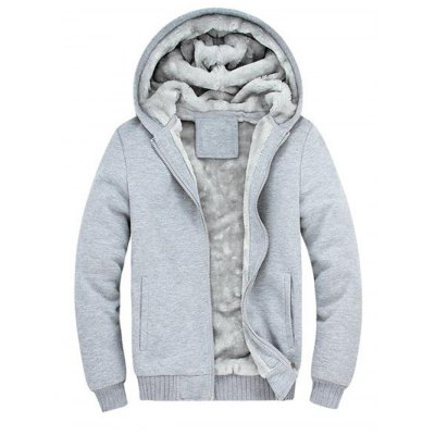Zipper Front Plush Lining Hooded Jacket