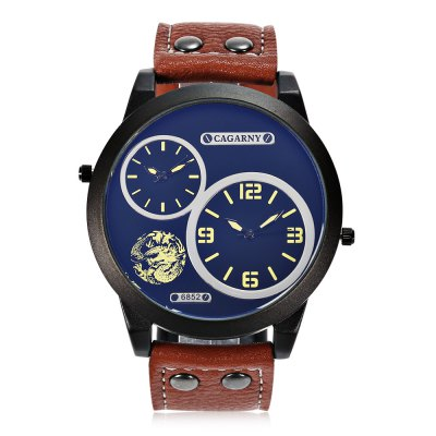 CAGARNY 6852 Fashion Men Quartz WatchMens Watches<br>CAGARNY 6852 Fashion Men Quartz Watch<br><br>Band material: Leather<br>Band size: 26.5 x 2.4 cm / 10.43 x 0.95 inches<br>Brand: Cagarny<br>Case material: Alloy<br>Clasp type: Pin buckle<br>Dial size: 5 x 5 x 1.4 cm / 1.97 x 1.97 x 0.55 inches<br>Display type: Analog<br>Movement type: Double-movtz<br>Package Contents: 1 x CAGARNY 6852 Fashion Men Quartz Watch, 1 x Box<br>Package size (L x W x H): 10.20 x 7.70 x 7.30 cm / 4.02 x 3.03 x 2.87 inches<br>Package weight: 0.175 kg<br>Product size (L x W x H): 26.50 x 5.00 x 1.40 cm / 10.43 x 1.97 x 0.55 inches<br>Product weight: 0.075 kg<br>Shape of the dial: Round<br>Watch color: Black + White, Black + Red, Black + Yellow, Brown + Yellow<br>Watch style: Fashion<br>Watches categories: Male table<br>Water resistance : Life water resistant<br>Wearable length: 19.3 - 24.2 cm / 7.6 - 9.53 inches