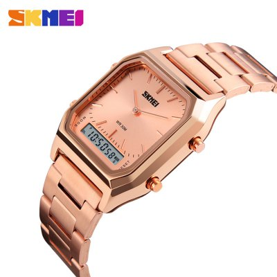 SKMEI 1220 Fashion EL Backlight 30m Waterproof Unisex WatchUnisex Watches<br>SKMEI 1220 Fashion EL Backlight 30m Waterproof Unisex Watch<br><br>Brand: Skmei<br>People: Female table,Male table<br>Watch style: Fashion<br>Available color: Black,Blue,Gold,Rose Gold,Silver<br>Shape of the dial: Square<br>Movement type: Quartz + digital watch<br>Display type: Analog-Digital<br>Case material: Alloy<br>Band material: Stainless Steel<br>Clasp type: Folding clasp with safety<br>Water resistance : 30 meters<br>Special features: Date,Day<br>Dial size: 3.3 x 3.3 x 1.1 cm / 1.30 x 1.30 x 0.43 inches<br>Band size: 23 x 1.7 cm / 9.06 x 0.67 inches<br>Product weight: 0.103 kg<br>Package weight: 0.228 kg<br>Product size (L x W x H): 23.00 x 3.30 x 1.10 cm / 9.06 x 1.3 x 0.43 inches<br>Package size (L x W x H): 11.00 x 6.00 x 3.50 cm / 4.33 x 2.36 x 1.38 inches<br>Package Contents: 1 x SKMEI Fashion Unisex Watch, 1 x Box