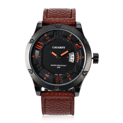 CAGARNY 6858 Casual Men Quartz WatchMens Watches<br>CAGARNY 6858 Casual Men Quartz Watch<br><br>Brand: Cagarny<br>Watches categories: Male table<br>Watch style: Casual<br>Watch color: Black, Orange, Coffee<br>Movement type: Quartz watch<br>Shape of the dial: Round<br>Display type: Analog<br>Case material: Alloy<br>Band material: Leather<br>Clasp type: Pin buckle<br>Special features: Date<br>Water resistance : 30 meters<br>Dial size: 4.7 x 4.7 x 1.4 cm / 1.85 x 1.85 x 0.55 inches<br>Band size: 26.2 x 2.4 cm / 10.31 x 0.94 inches<br>Wearable length: 18.8 - 23.7 cm / 7.40 - 9.33 inches<br>Product weight: 0.077 kg<br>Package weight: 0.177 kg<br>Product size (L x W x H): 26.20 x 4.70 x 1.40 cm / 10.31 x 1.85 x 0.55 inches<br>Package size (L x W x H): 10.20 x 7.70 x 7.30 cm / 4.02 x 3.03 x 2.87 inches<br>Package Contents: 1 x CAGARNY 6858 Casual Men Quartz Watch, 1 x Box