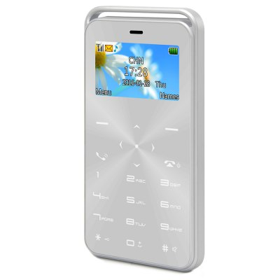 GS6 Quad Band Card PhoneFeatured Phones<br>GS6 Quad Band Card Phone<br><br>Type: Bar Phone<br>External Memory: TF card up to 8GB (not included)<br>Network type: GSM<br>Frequency: GSM 850/900/1800/1900MHz<br>Bluetooth: Yes<br>Screen size: 1.7 inch<br>Camera type: No camera<br>SIM Card Slot: Single SIM<br>Micro USB Slot: Yes<br>Microphone: Supported<br>Speaker: Supported<br>Languages: English, French, Spanish, Italian, German, Russian, Arabic<br>Additional Features: Alarm,Bluetooth,Calculator,Calendar,FM,People<br>Cell Phone: 1<br>Battery: 1 x 500mAh<br>USB Cable: 1<br>English Manual : 1<br>Earphone Adapter: 1<br>Product size: 9.50 x 5.30 x 0.79 cm / 3.74 x 2.09 x 0.31 inches<br>Package size: 15.70 x 9.40 x 3.20 cm / 6.18 x 3.7 x 1.26 inches<br>Product weight: 0.035 kg<br>Package weight: 0.150 kg