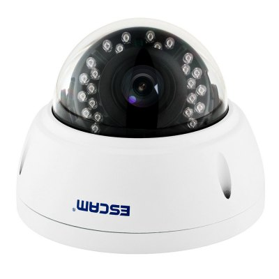 ESCAM QD420 H.265 4MP Network IP IR Dome CameraIP Cameras<br>ESCAM QD420 H.265 4MP Network IP IR Dome Camera<br><br>Brand: ESCAM<br>Color: White<br>Compatible Operation Systems: Android,IOS<br>Electronic Shutter: Auto / Manual, 1/3 - 1/10000s<br>Environment: Indoor,Outdoor<br>Exterior Material: Metal<br>FOV: 75 degree<br>Frame Rate (FPS): 18fps / 25fps / 22fps<br>Infrared Distance: 15m<br>Infrared LED: 24pcs<br>IP camera performance: Motion Detection, Night Vision<br>Language: English<br>Maximum Monitoring Range: 75.7 degrees<br>Minimum Illumination: color 0.01 Lux F1.2, black / white 0.001 Lux F1.2<br>Mobile Access: Android,IOS,iPad<br>Model: QD420<br>Motion Alarm : Email alert<br>Motion Detection Distance: 10m<br>Network Port: RJ-45<br>Operate Temperature (?): -10 - 60 centigrade<br>Package Contents: 1 x IP Camera, 1 x Power Cord, 1 x English User Manual, 1 x Accessory Kit, 4 x Screw, 4 x Screw Cap, 1 x Screw Driver<br>Package size (L x W x H): 17.00 x 17.00 x 18.00 cm / 6.69 x 6.69 x 7.09 inches<br>Package weight: 0.8580 kg<br>Power Requirement: DC12V<br>Product size (L x W x H): 13.00 x 13.00 x 10.00 cm / 5.12 x 5.12 x 3.94 inches<br>Product weight: 0.5510 kg<br>Protocol: DDNS,DHCP,DNS,FTP,HTTP,IP,NTP,PPPOE,RTCP,RTP,RTSP,SMTP,TCP,UDP,UPNP<br>Resolution: 1920 ? 1080,2048 ? 1536,2592 ? 1920<br>S/N Ration: &gt;50dB<br>Sensor: CMOS<br>Sensor size (inch): 1/3<br>Shape: Dome Camera<br>Technical Feature: Waterproof, Infrared<br>Video Compression Format: H.265<br>Waterproof: IP66<br>White Balance: Auto<br>WiFi Distance : No<br>Working Humidity (%) RH: 10% - 90%<br>Working Voltage: DC12V