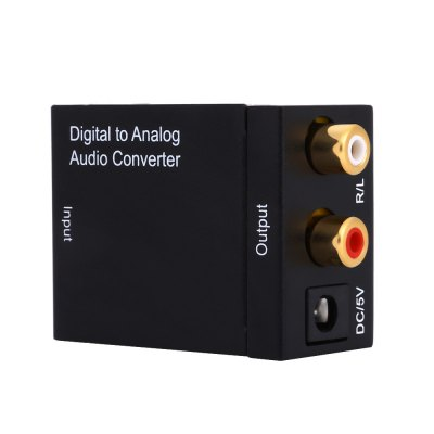 DA Digital to R / L Analog Audio Converter SwitcherCables &amp; Connectors<br>DA Digital to R / L Analog Audio Converter Switcher<br><br>Available Color: Black<br>DC Port: 5.5 x 2.1<br>Interface: DC 5V, Toslink<br>Material: Iron<br>Package Contents: 1 x DA Digital to R / L Analog Audio Converter, 1 x Optical Cable, 1 x Power Adapter Cable, 1 x English Manual<br>Package size (L x W x H): 12.00 x 10.50 x 6.50 cm / 4.72 x 4.13 x 2.56 inches<br>Package weight: 0.135 kg<br>Product size (L x W x H): 5.00 x 4.00 x 2.50 cm / 1.97 x 1.57 x 0.98 inches<br>Product weight: 0.065 kg<br>Type: Switcher