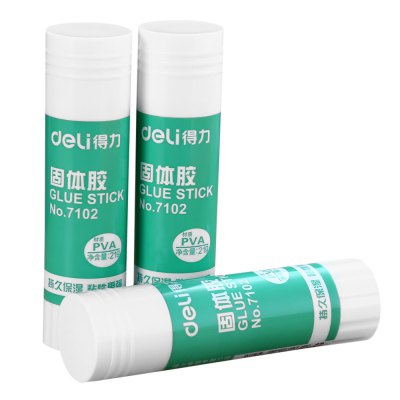 Deli 7102 3PCS Non-toxic Solid Glue Stick PVATapes<br>Deli 7102 3PCS Non-toxic Solid Glue Stick PVA<br><br>Brand: Deli<br>Working Type: Offline<br>Product weight: 0.063 kg<br>Package weight: 0.103 kg<br>Package size (L x W x H): 20.00 x 14.00 x 2.50 cm / 7.87 x 5.51 x 0.98 inches<br>Package Contents: 3 x Deli 7102 Solid Glue