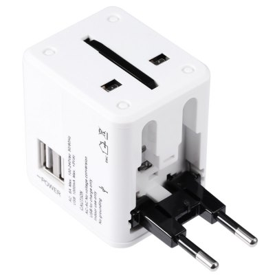 Multination Travel Wall Charger Power AdapteriPhone Cables &amp; Adapters<br>Multination Travel Wall Charger Power Adapter<br><br>Color: Black,Blue,White<br>Features: ALL-in-1<br>Input: 100 - 240V, 50 / 60Hz, 6A<br>Material ( Cable&amp;Adapter): PC<br>Output: 5V 1A<br>Package Contents: 1 x Power Adapter, 1 x English User Manual, 1 x Pouch<br>Package size (L x W x H): 10.50 x 6.10 x 16.30 cm / 4.13 x 2.4 x 6.42 inches<br>Package weight: 0.156 kg<br>Plug: AU plug,EU plug,UK plug,US plug<br>Product size (L x W x H): 6.10 x 5.50 x 4.70 cm / 2.4 x 2.17 x 1.85 inches<br>Product weight: 0.103 kg<br>Type: Adapters